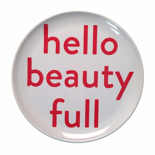 """10"""" Hello Beauty Full Melamine Plates (Set of 4) by Sugarboo Designs"""