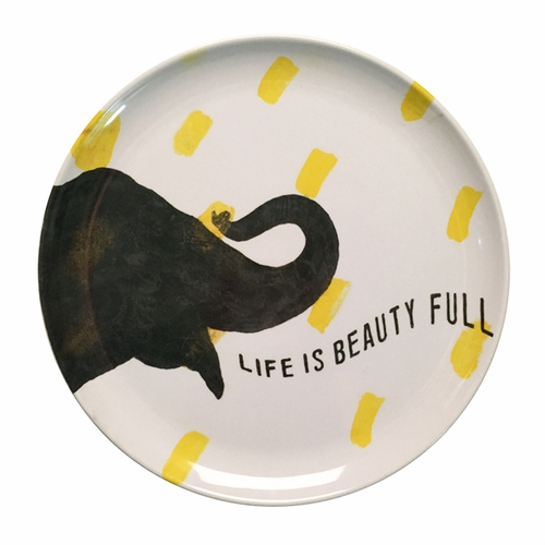 "10"" Smart Elephant Melamine Plates (Set of 4) by Sugarboo Designs"