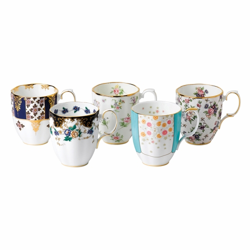 100 Years 1900-1940 5-Piece Mug Set by Royal Albert - Special Order
