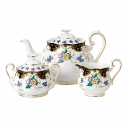 100 Years 1910 Duchess 3-Piece Teapot, Sugar & Creamer Set by Royal Albert