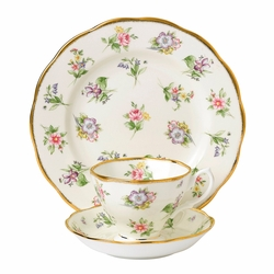100 Years 1920 Spring Meadow 3-Piece Teacup Set by Royal Albert - Special Order