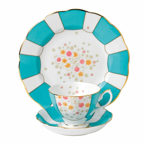 100 Years 1930 Mint Deco 3-Piece Teacup Set by Royal Albert - Special Order