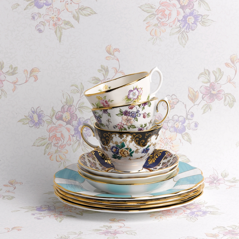 & 100 Years 1940 English Chintz 3-Piece Teacup Set by Royal Alber