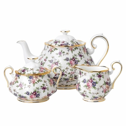 100 Years 1940 English Chintz 3-Piece Teapot, Sugar & Creamer Set by Royal Albert