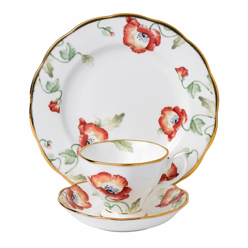 100 Years 1970 Poppy 3-Piece Teacup Set by Royal Albert - Special Order