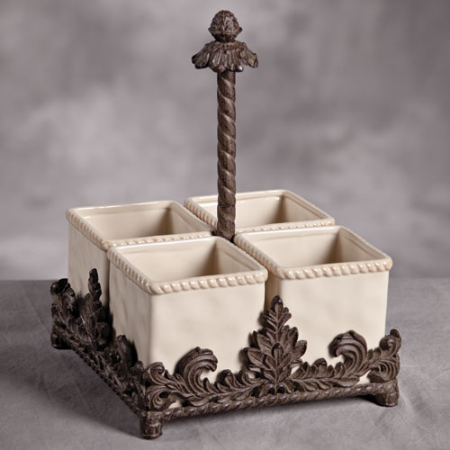 12.5 in. H Ceramic and Metal Flatware Caddy - GG Collection