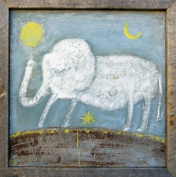 "12"" x 12"" Baby Elephant Art Print With Grey Wood Frame by Sugarboo Designs"