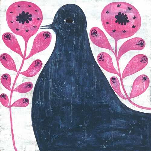 "12"" x 12"" Black Bird In Flowers Small Print by Sugarboo Designs"
