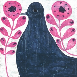 "12"" x 12"" Black Bird In Flowers Small Print by Sugarboo Designs - Special Order"