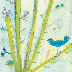"""12"""" x 12"""" Blue Bird (Left Panel) Small Print by Sugarboo Designs"""