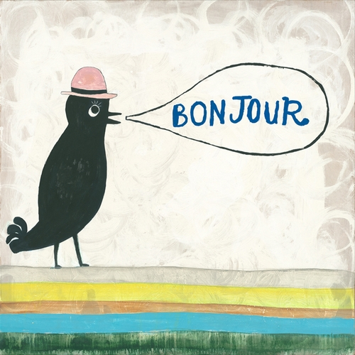 "12"" x 12"" Bonjour Small Print by Sugarboo Designs"
