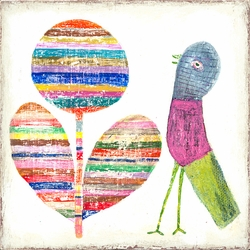 """12"""" x 12"""" Flower And Bird Small Print by Sugarboo Designs"""