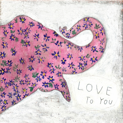 "12"" x 12"" Pink Elephant Small Print by Sugarboo Designs"