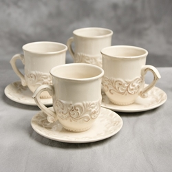 16 oz. Cup and Saucer-Set of 4-Cream - GG Collection