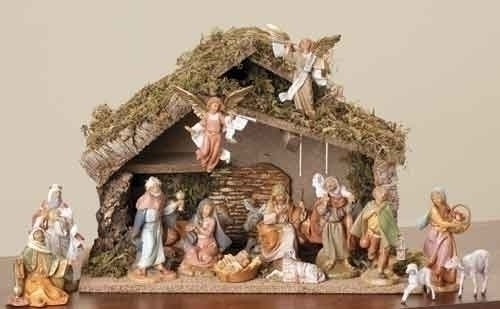 "16 Piece Fontanini Nativity Scene with Italian stable - 5"" Figurines"
