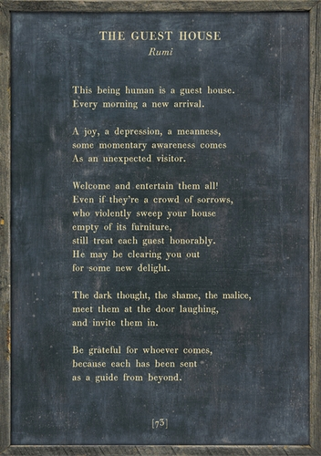 """17"""" x 25"""" Charcoal The Guest House Poetry Collection Art Print with Grey Wood Frame by Sugarboo Designs"""