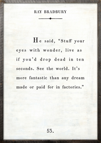 """17"""" x 25"""" White Ray Bradbury Book Collection Art Print with Grey Wood Frame by Sugarboo Designs"""
