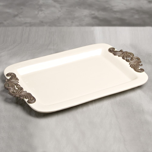 23.75x14.25 in. Rect. Tray w/ Metal Handles-Cream - GG Collection