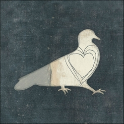 """24"""" x 24"""" Bird With Big Heart Art Print by Sugarboo Designs"""