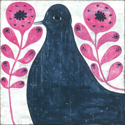 "24"" x 24"" Black Bird In Flowers Art Print by Sugarboo Designs - Special Order"