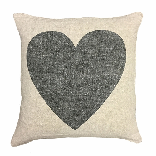 "24"" x 24"" Black Heart Pillow by Sugarboo Designs"