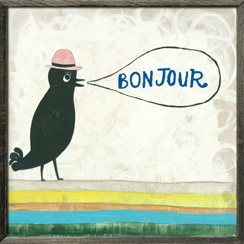 """24"""" x 24"""" Bonjour Art Print With Grey Wood Frame by Sugarboo Designs"""