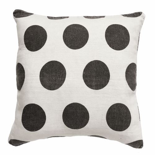 """24"""" x 24"""" Cream Linen Polka Dots Pillow by Sugarboo Designs"""