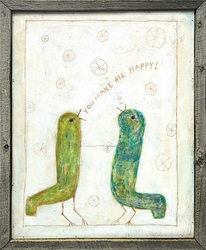 "24"" x 24"" Happy Birds Art Print With Grey Wood Frame by Sugarboo Designs"