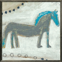 "24"" x 24"" Horse With Blue Mane Art Print With Grey Wood Frame by Sugarboo Designs"