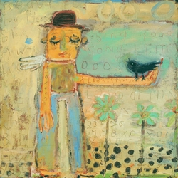 """24"""" x 24"""" Man With Bird Art Print by Sugarboo Designs"""
