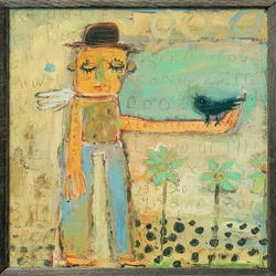 """24"""" x 24"""" Man With Bird Art Print With Grey Wood Frame by Sugarboo Designs"""