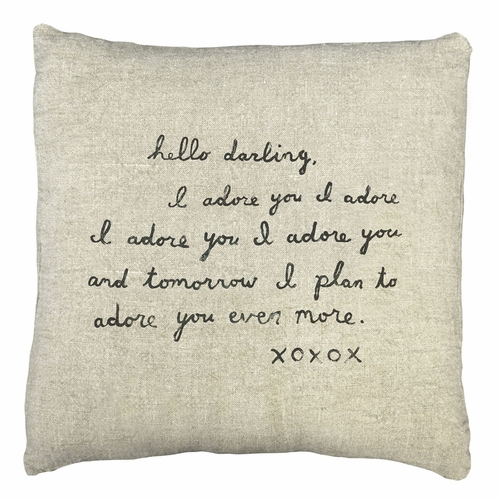 "24"" x 24"" Stone Washed Linen Letter #2 Pillow by Sugarboo Designs"