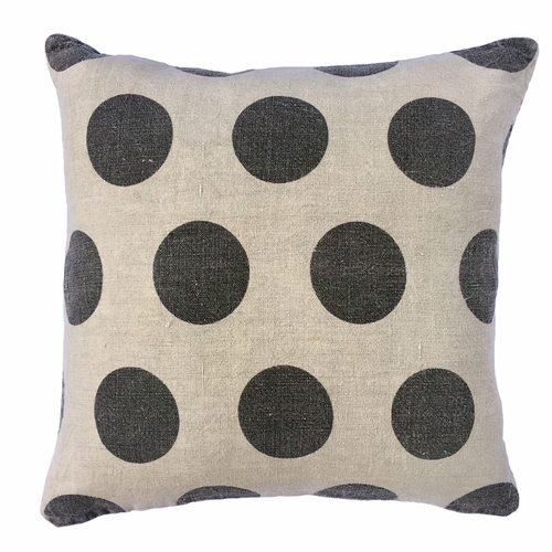 "24"" x 24"" Stone Washed Linen Polka Dots Pillow by Sugarboo Designs"