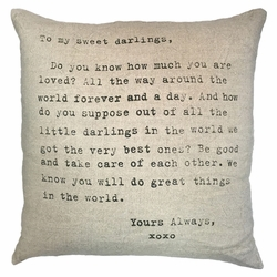 "24"" x 24"" To My Sweet Darlings Pillow by Sugarboo Designs"