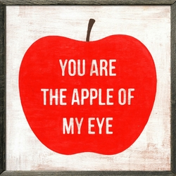 "24"" x 24"" You Are The Apple Of My Eye Art Print With Grey Wood Frame by Sugarboo Designs"