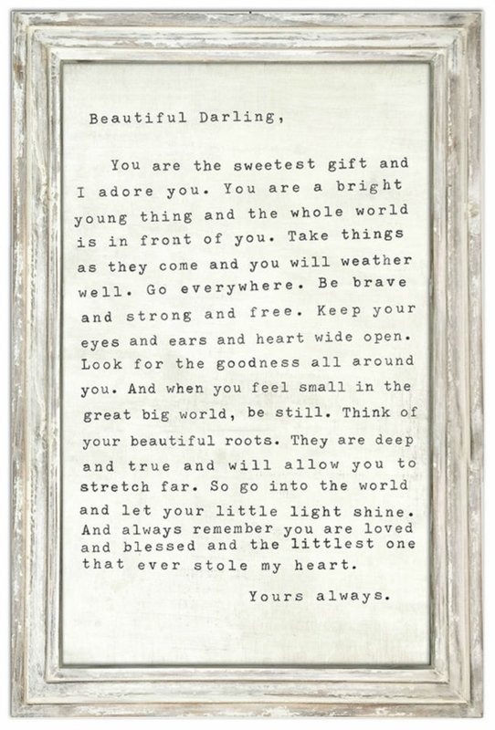24 X 36 Letter For Sophie Art Print With White Wash Frame By