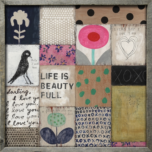 "25"" x 25"" Collage #1 Art Print with Grey Wood Frame by Sugarboo Designs"