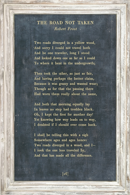 25 u0026quot  x 36 u0026quot  charcoal the road not taken poetry collection art print with white wash frame by