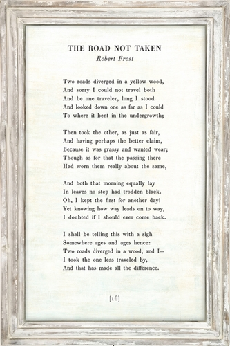 25 u0026quot  x 36 u0026quot  white the road not taken poetry collection art print with white wash frame by sugarboo