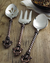 3 Piece Hostess Set - Serving Fork, Spoon, Pierced Spoon - GG Collection