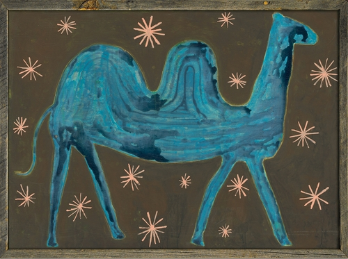 """36"""" x 25"""" Camel In The Stars Art Print with Grey Wood Frame by Sugarboo Designs"""