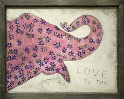 "36"" x 25"" Pink Elephant Art Print with Grey Wood Frame by Sugarboo Designs"