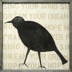 "36"" x 36"" Bird Silhouette Art Print With Grey Wood Frame by Sugarboo Designs"