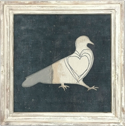 """36"""" x 36"""" Bird With Big Heart Art Print With White Wash Frame by Sugarboo Designs"""