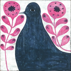 "36"" x 36"" Black Bird In Flowers Art Print by Sugarboo Designs - Special Order"