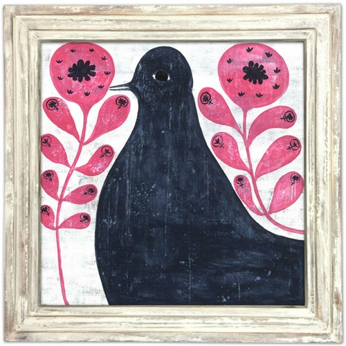 """36"""" x 36"""" Black Bird In Flowers Art Print With White Wash Frame by Sugarboo Designs - Special Order"""
