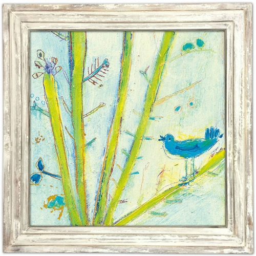 "36"" x 36"" Blue Bird Left Art Print With White Wash Frame by Sugarboo Designs"