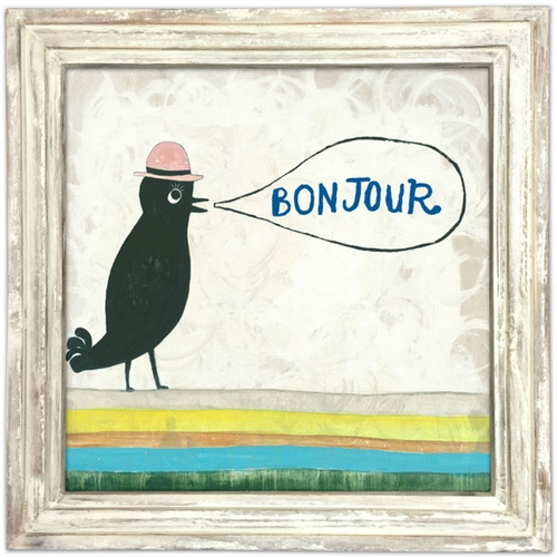 """36"""" x 36"""" Bonjour Art Print With White Wash Frame by Sugarboo Designs"""