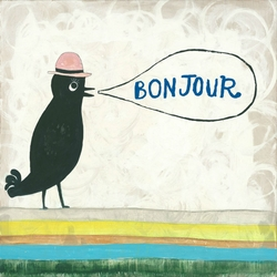 "36"" x 36"" Bonjour Gallery Wrap Frame Art Print by Sugarboo Designs"