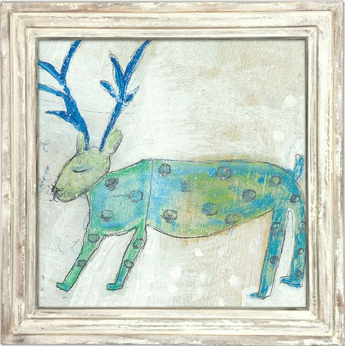 "36"" x 36"" Elk Art Print With White Wash Frame by Sugarboo Designs"